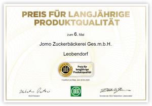 DLG Preis für langjährige Produktqualität