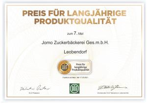 DLG Urkunde für langjährige Produktqualität